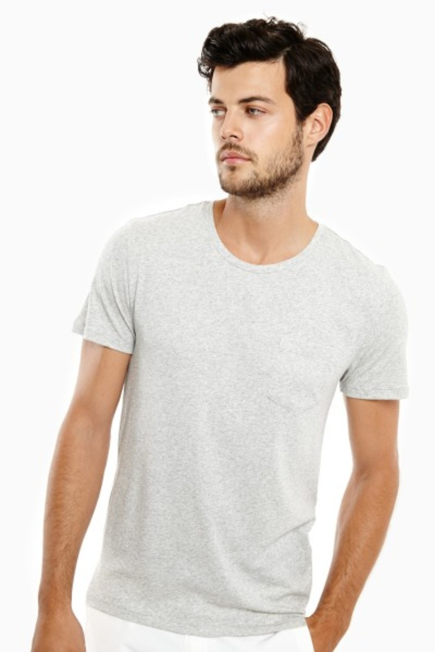 Onia Joey Pocket Crew Tee Heather Grey