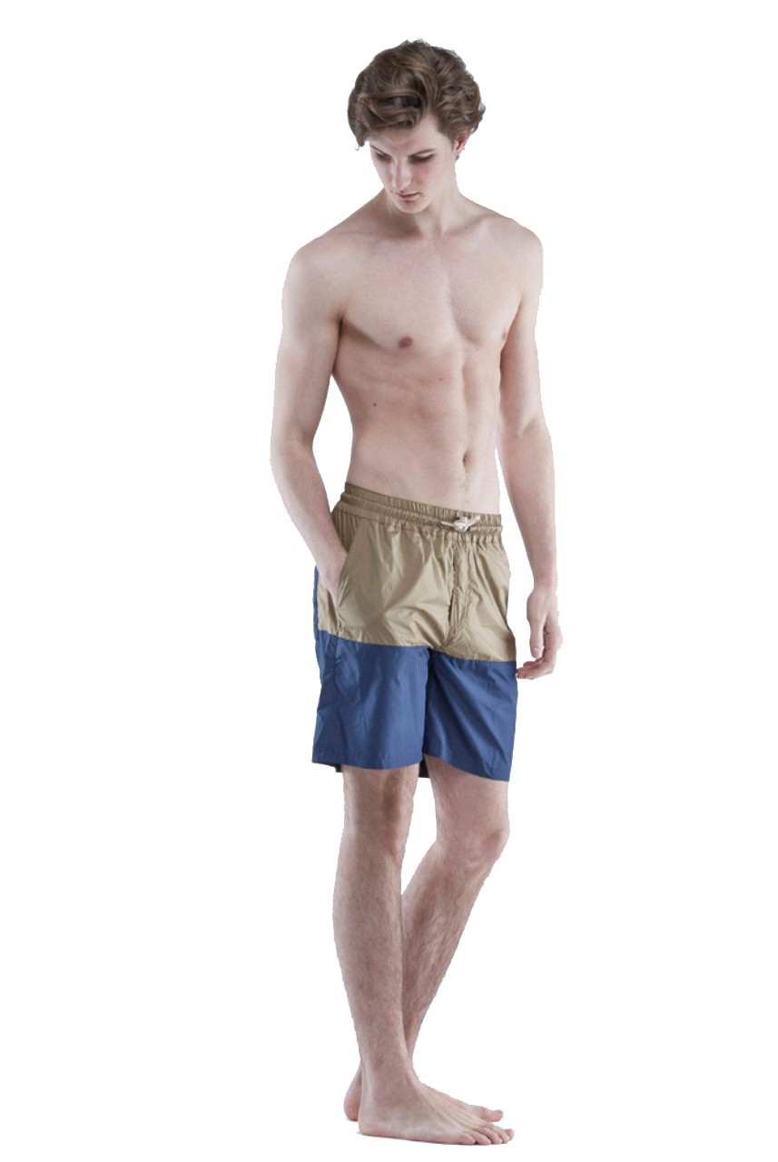 The White Briefs Beach Boy Shorts Camel Navy