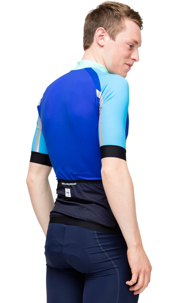 Huez Bleed Printed Cycling Jersey Blue