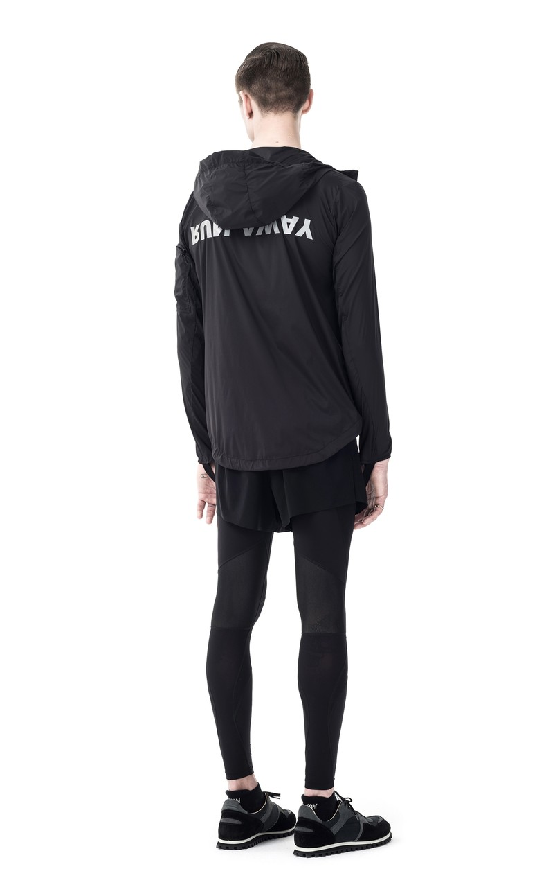 Satisfy Packable Zip Front Windbreaker in Black Silk