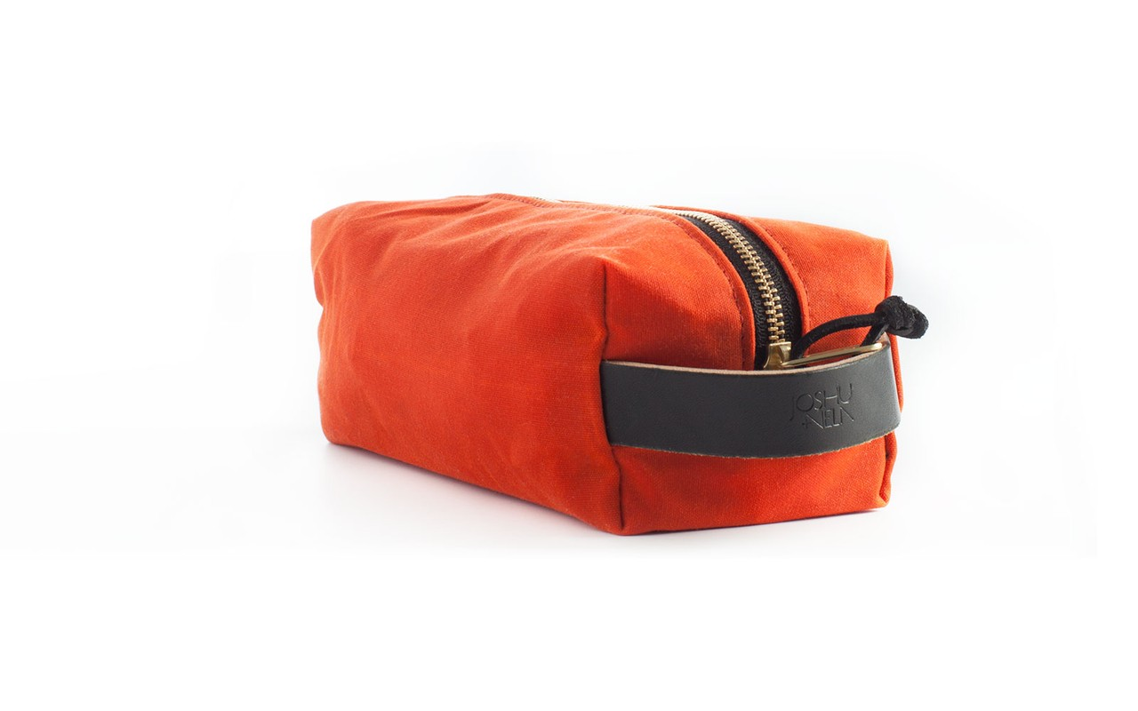 Joshu+Vela Dopp Kit in Orange Wax Army Duck in Orange Wax
