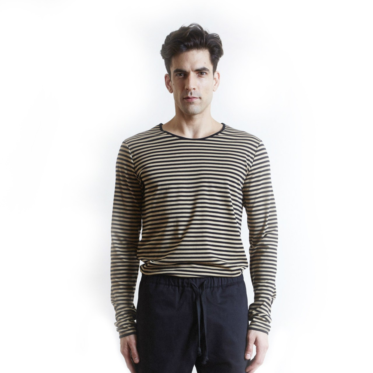 The White Briefs Wheat Stripe Camel Black Long Sleeve