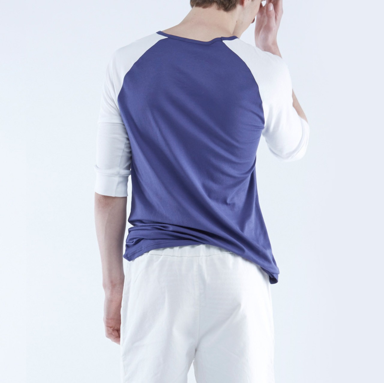 The White Briefs Anchovy 3/4 Sleeve T-Shirt Blue White
