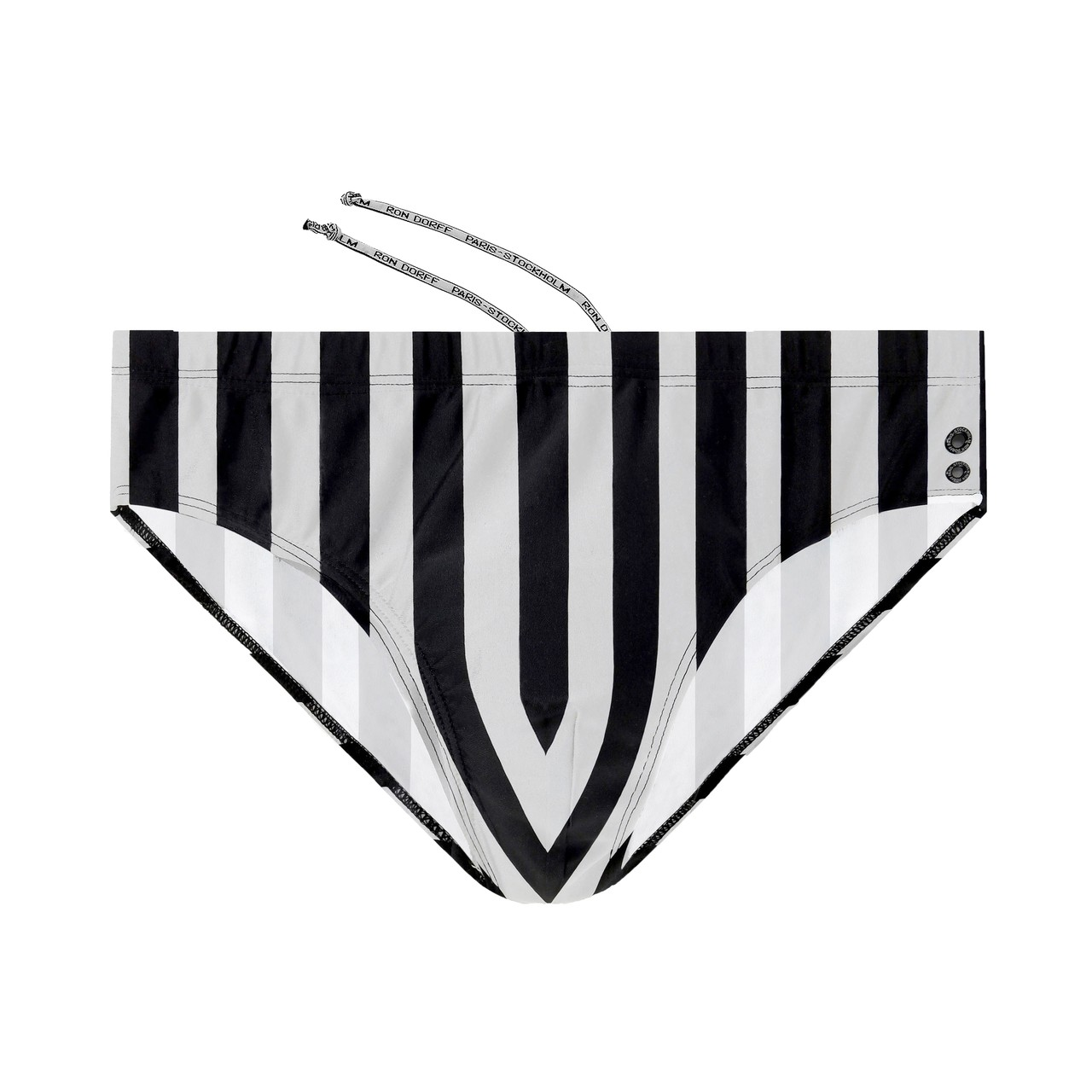 Ron Dorff Swim Trunks in Black / White Stripe